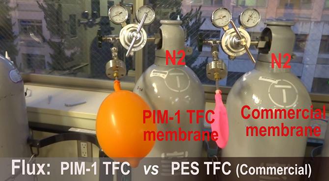図1. PIM1分離膜(左)と従来用いられているガス分離ポリマーとのガス透過分離速度を比較した様子。PIM1を透過したガスの風船は、従来の膜に比べてガス透過分離速度が圧倒的に速く、大きく膨らんでいることがわかる。